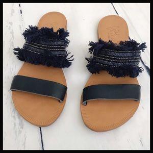 JOIE   navy blue denim fringe slide sandals